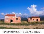 abandoned houses on greece... | Shutterstock . vector #1037584039