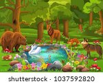 wild animals coming to the... | Shutterstock .eps vector #1037592820