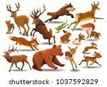 Stock vector vector collection of wild animals running 1037592829