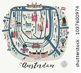 cartoon map of amsterdam with... | Shutterstock .eps vector #1037600974