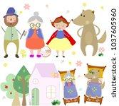 cartoon fairy tale little red... | Shutterstock .eps vector #1037605960