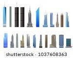 new york city skyscrapers set ... | Shutterstock .eps vector #1037608363