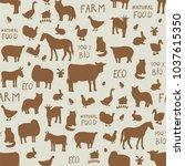farm animals seamless vector... | Shutterstock .eps vector #1037615350