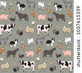 Stock vector farm animals seamless vector pattern 1037615359