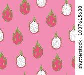 tropical dragon fruit vector... | Shutterstock .eps vector #1037615638