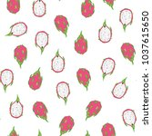 tropical dragon fruit vector... | Shutterstock .eps vector #1037615650
