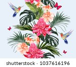 Stock vector seamless vector floral summer pattern background with hummingbird palm leaves butterflies 1037616196