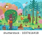 wild animals in the forest. for ... | Shutterstock . vector #1037616418