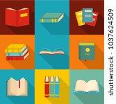 scientific report icons set.... | Shutterstock .eps vector #1037624509