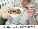 close up of wrinkled senior... | Shutterstock . vector #1037632759
