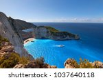 navagio beach with shipwreck... | Shutterstock . vector #1037640118