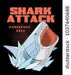 polygonal shark poster   t... | Shutterstock .eps vector #1037640688