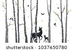 Birch Tree With Deer And Birds...