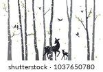 birch tree with deer and birds... | Shutterstock .eps vector #1037650780