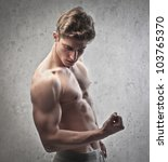 brawny bare chested young man... | Shutterstock . vector #103765370