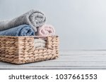 bath towels of different colors ... | Shutterstock . vector #1037661553