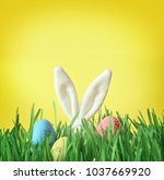easter funny bunny on green... | Shutterstock . vector #1037669920