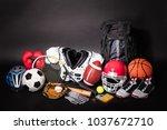 close up of various sport... | Shutterstock . vector #1037672710