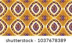 ikat geometric folklore... | Shutterstock .eps vector #1037678389