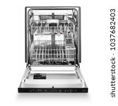 open dishwasher isolated on... | Shutterstock . vector #1037682403