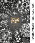 italian pasta frame. hand drawn ... | Shutterstock .eps vector #1037682436
