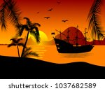 black silhouette of the pirate... | Shutterstock .eps vector #1037682589