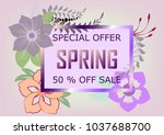 spring sale background banner... | Shutterstock .eps vector #1037688700