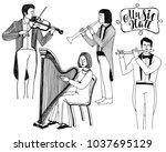 illustration of musicians....   Shutterstock . vector #1037695129