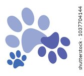 blue paws vector icon print  | Shutterstock .eps vector #1037704144