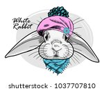 vector white rabbit with pink... | Shutterstock .eps vector #1037707810
