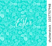 happy easter poster with hand... | Shutterstock .eps vector #1037707948