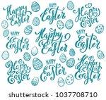 big set of hand written happy... | Shutterstock .eps vector #1037708710