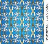 vintage floral vector seamless... | Shutterstock .eps vector #1037709208