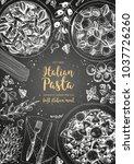 italian pasta frame. hand drawn ... | Shutterstock .eps vector #1037726260