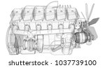a big diesel engine with the...   Shutterstock . vector #1037739100