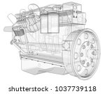 a big diesel engine with the... | Shutterstock . vector #1037739118