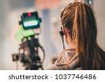 behind the scene. female... | Shutterstock . vector #1037746486