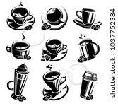 coffee set. vector | Shutterstock .eps vector #1037752384