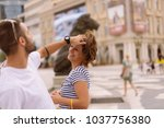 beautiful couple shopping in... | Shutterstock . vector #1037756380