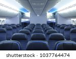 commercial airplane cabin... | Shutterstock . vector #1037764474