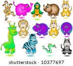 Jungle Animals Vector. - stock vector