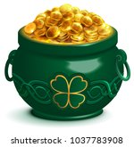 green full pot with gold coins. ... | Shutterstock . vector #1037783908