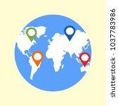 location marker on world... | Shutterstock .eps vector #1037783986
