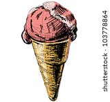 ice cream in a cone isolated on ... | Shutterstock .eps vector #103778864