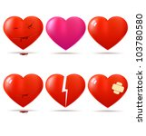 collection of glossy hearts.... | Shutterstock .eps vector #103780580