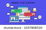 website chat support  online... | Shutterstock .eps vector #1037808520