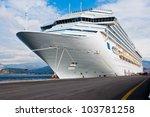 cruise ship bow on a beautiful...