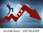 businessman jumping over tax in ... | Shutterstock . vector #1037813509