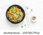 pad thai vegetarian vegetables... | Shutterstock . vector #1037817916