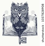 owl and open book tattoo and t... | Shutterstock .eps vector #1037828908